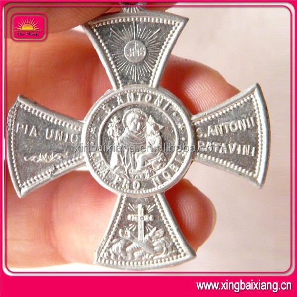 Christmas carnival catholic saint religious cast carve metal medal