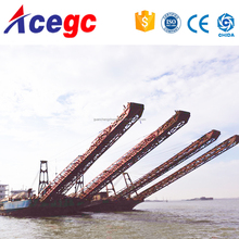 River sand transporting barge/vessel/boat with conveyor in the water