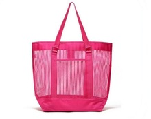 Promotional recycle woven plastic beach bag foldable shopping bag nylon mesh beach bag
