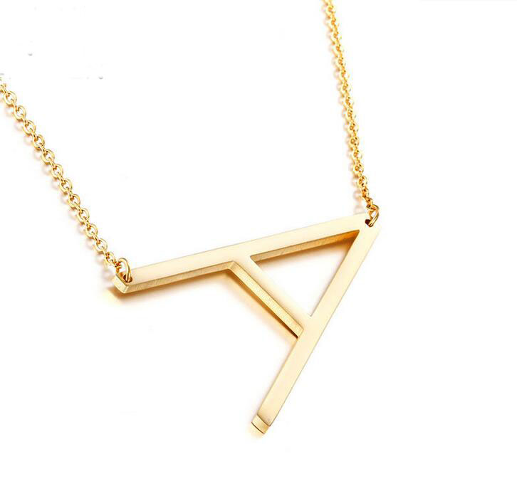 Hot Selling Stainless Steel 18K Gold Big Initial Necklace Oversize Letter Alphabet Sideway Charm Choker Necklace For Girls