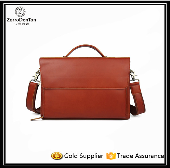 Vintaged Genuine Leather Briefcase Men Handbag Laptop Case Message Bag