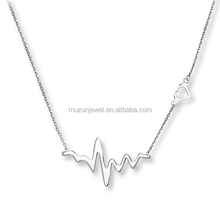 Hot Jewelry 925 Sterling Silver Heartybeat Pendant Necklace