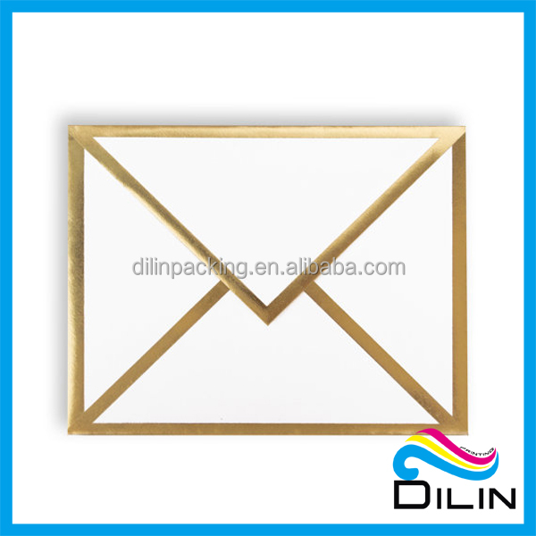 Thanks White Card with Gold Foil Bordered Envelope