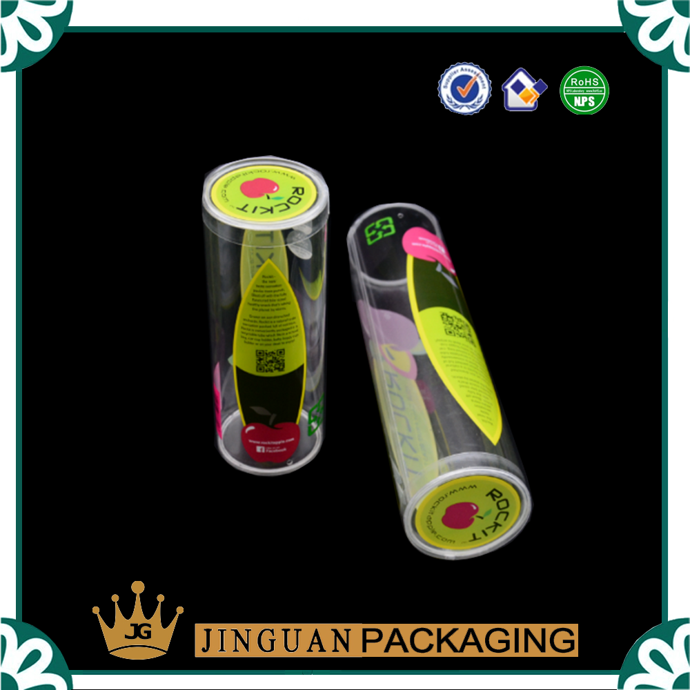 Empty cosmetic round packaging high quality makeup pvc clear display plastic tube