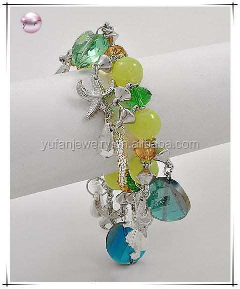 Rhodiumized Green Glass Lead Compliant Sea Life Charm Stretch Bracelet