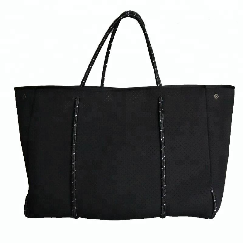 Free Sample Wholesale High Quality Black Color Perforated Beach Neoprene Lady Shopping Shoulder <strong>Tote</strong> Bag