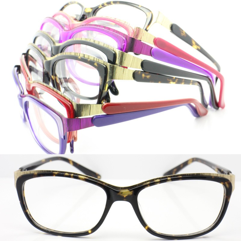 Trendy design acetate combined alloy butterfly shape with flexible hinge optical eyeglass frames