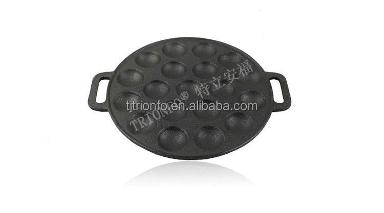 FDA approved TRIONFO 19 holes cast iron poffertjes pan