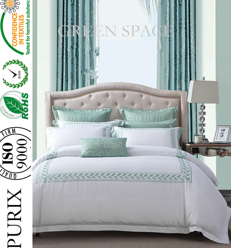 Purix embroidery the lovely leave bedding set bedsheet hotel linen supplier