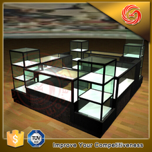 Shopping mall small jewelry kiosk design glass display cabinet for sale