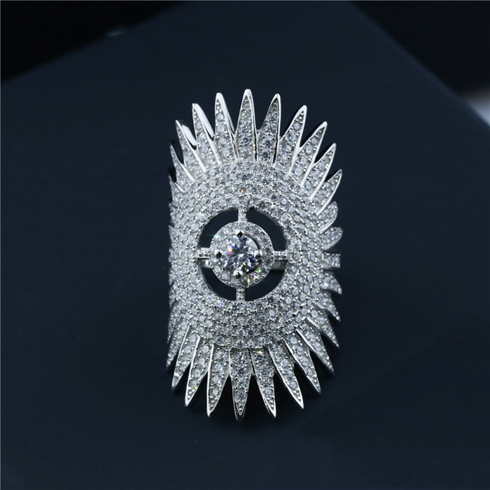 Yiwu SJ Luxury Jewellery SJA095 Exaggerated Women 925 Sterling Silver Lead Free White Zirconia Platinum Plated Sunflower Ring