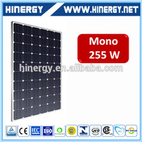 High Quality High Efficiency 255 wp mono solar panel ce low price 255w mono solar panel