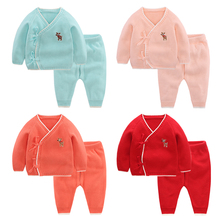 Infant 100% cotton clothing set spring and autumn knitted sweater 0-24 months knitted baby suit