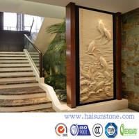 Chinese style embossed 3D TV faux wall stone panel for interior decoration and exterior decorative wall stone