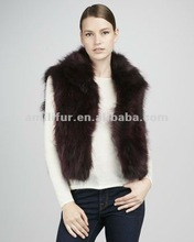 3146# Cropped Raccoon Dog Fur Vest
