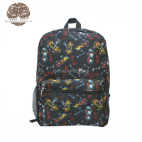 2016 Stylish Black 600D Black Polyester Skateboard Printed Boy Backpack