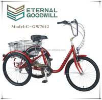 Fashionable adult tricycle/trike GW7012 24 inch three wheel bike with rear basket from china