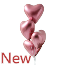 <strong>12</strong> inch metallic heart latex balloon rose