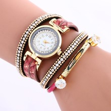 2017 New Fashion Hot Colorful Vintage women watch Weave Wrap Bracelet Watch LNW327