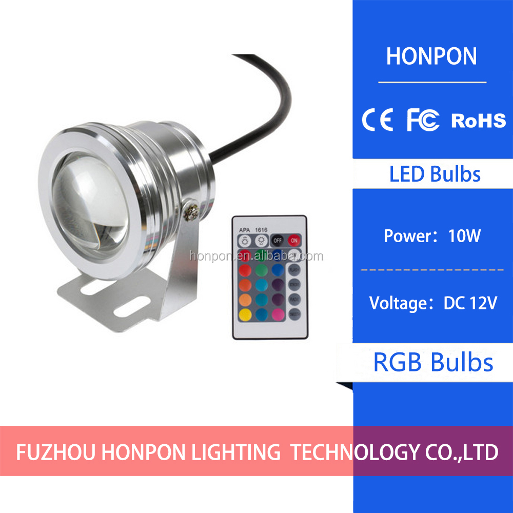 12V RGB LED Underwater Swimming Pool Light Waterproof With 10W Remote Controller