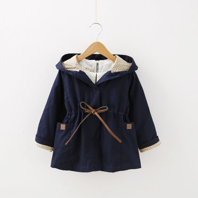 Hot sales New 2015 autumn winter high quality kids Trench coat Preppy style cotton Hooded toddler girls coats and jackets