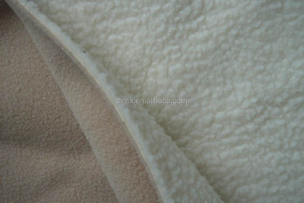 100% polyester polar fleece bonded with sherpa / polar fleece bonded polyester spandex knitting fabric