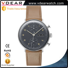 Perpetual calendar domed glass watches oem men chronograph private label mens watch with luminous hands