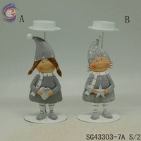 metal boy and girl with candle holder parts for decorating home