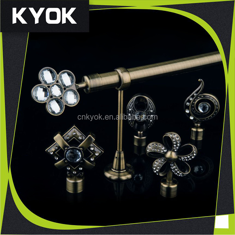 KYOK 2016 high quality WINDOW decorativec swivel curtain poles black window rods wholesale manufacturer