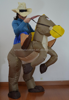 ride on horse inflatable costume suit adult inflatable horse rider costumes