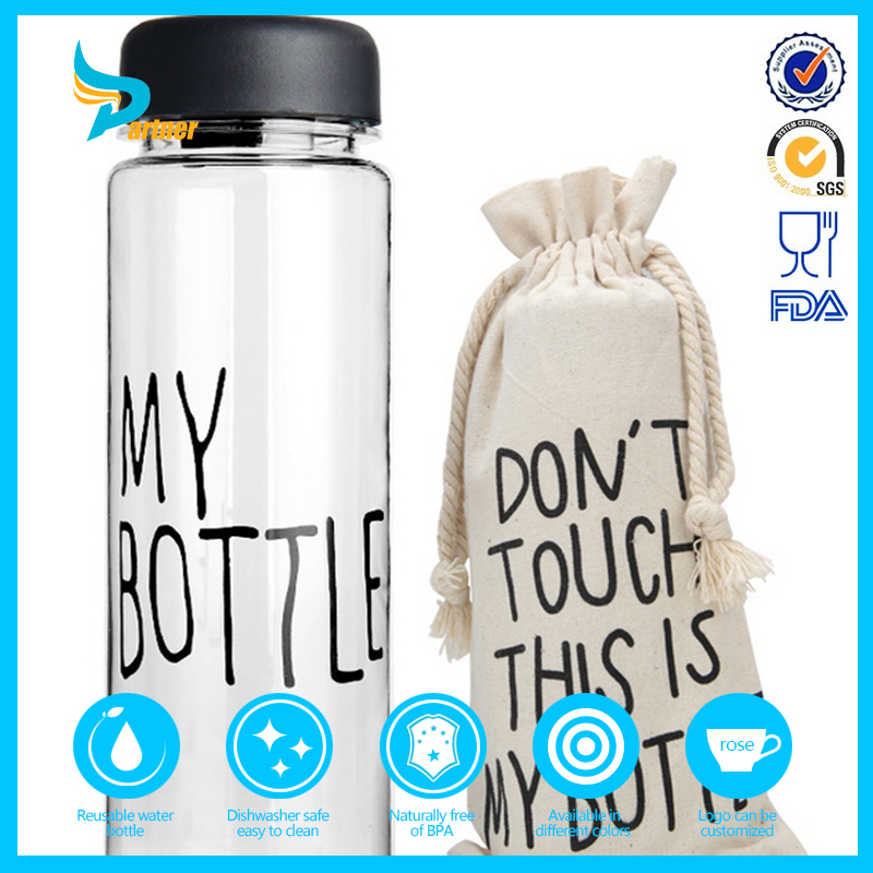 Korea Wholesale Custom 500ml Plastic Water Bottle/ My Bottle With Bag