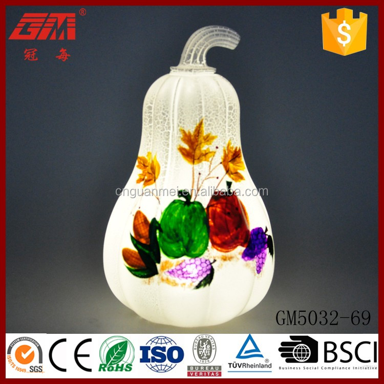 Thanksgiving handpainted glass led pumpkin light