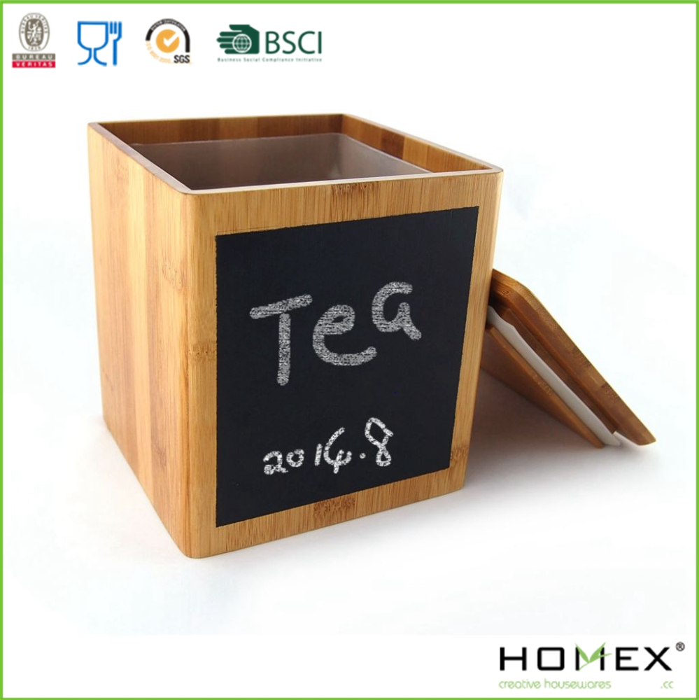Bamboo Tea Canister with Blackboard/Homex_FSC/BSCI Factory