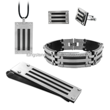 China factory directsale stainless steel men jewelry sets.bracelet,pendant,money clips and cufflinks