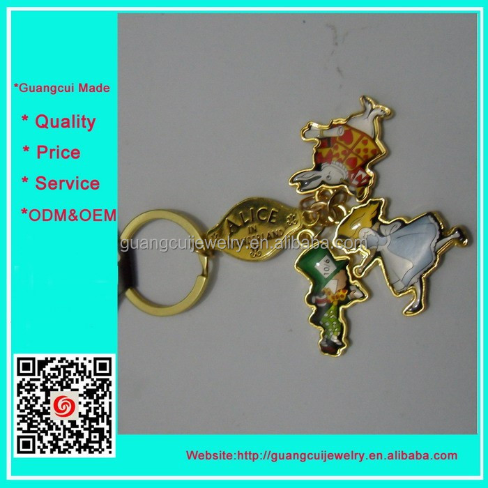 Hot sale zinc alloy ALICE tourist souvenirs keychain key ring