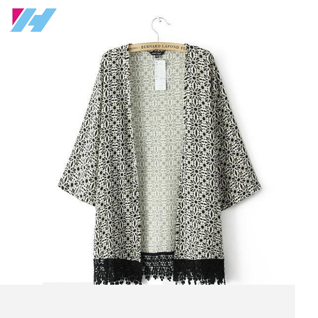 Yihao New 2017 Summer Fashion European Style women Small floral fringe Kimonos Jacket