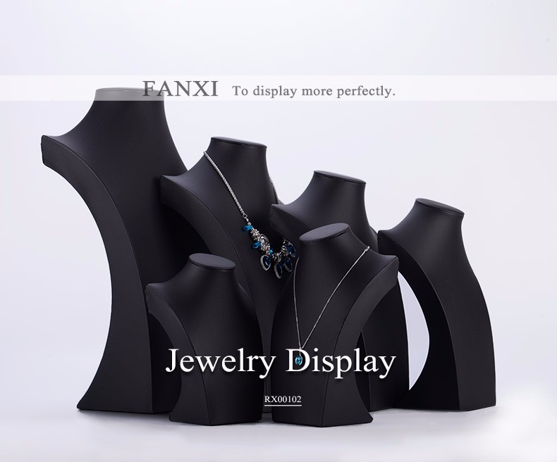 FANXI Custom Stylish Wood Jewelry Pendant Display Stand Exhibitor Black Leather Necklace Displays