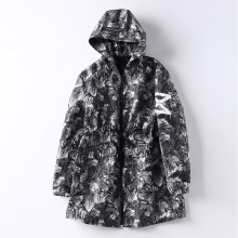 <strong>Men's</strong> Long length 100% polyester loose Snow mountain printed casual windbreaker