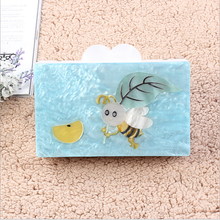 2017 Newest acrylic pearl light blue stitching small bee fashionable graceful clutch evening bag