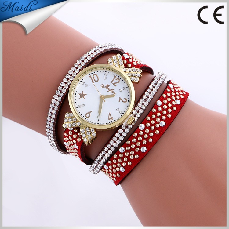 Relojes Mujer 2016 Leather Luxury Wrap Bracelet Watches Women's Fashion Strap Quartz Wrist Watch Clock Relogio WW077