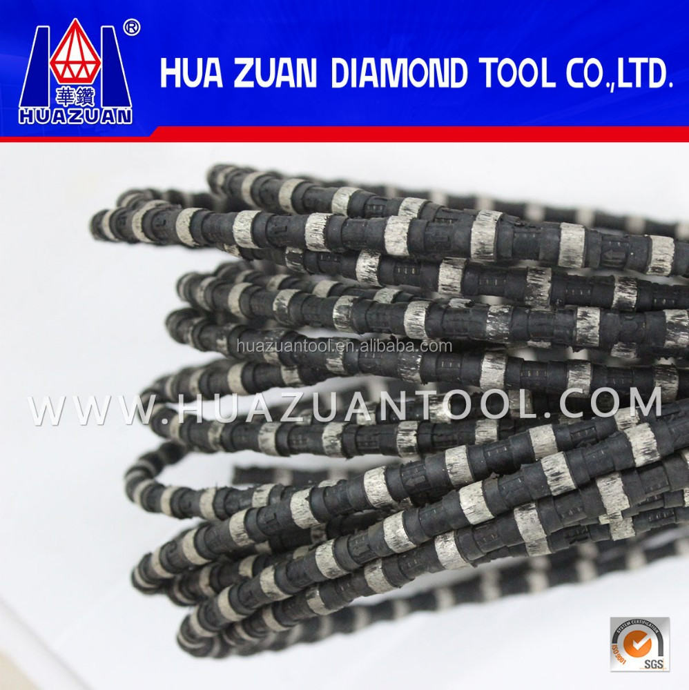Black diamond coated wire saw for quarry block chamfering