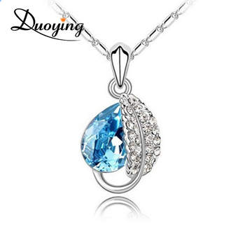 Popular Tear Drop Sapphire Pendant Necklace Immitation Jewellery