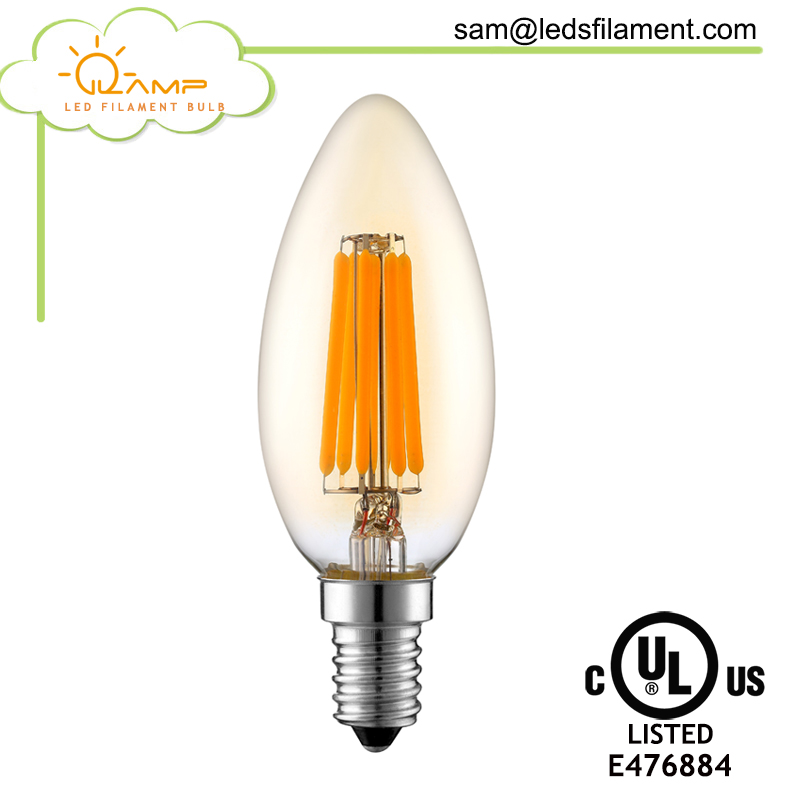 Golden Led Candle Bulbs, Transparent Cover Led Lights Candle 5W 7W, E14 Candle LED