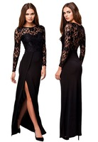 High End Long Sleeve Black Lace Evening Prom Maxi Dress LC6948
