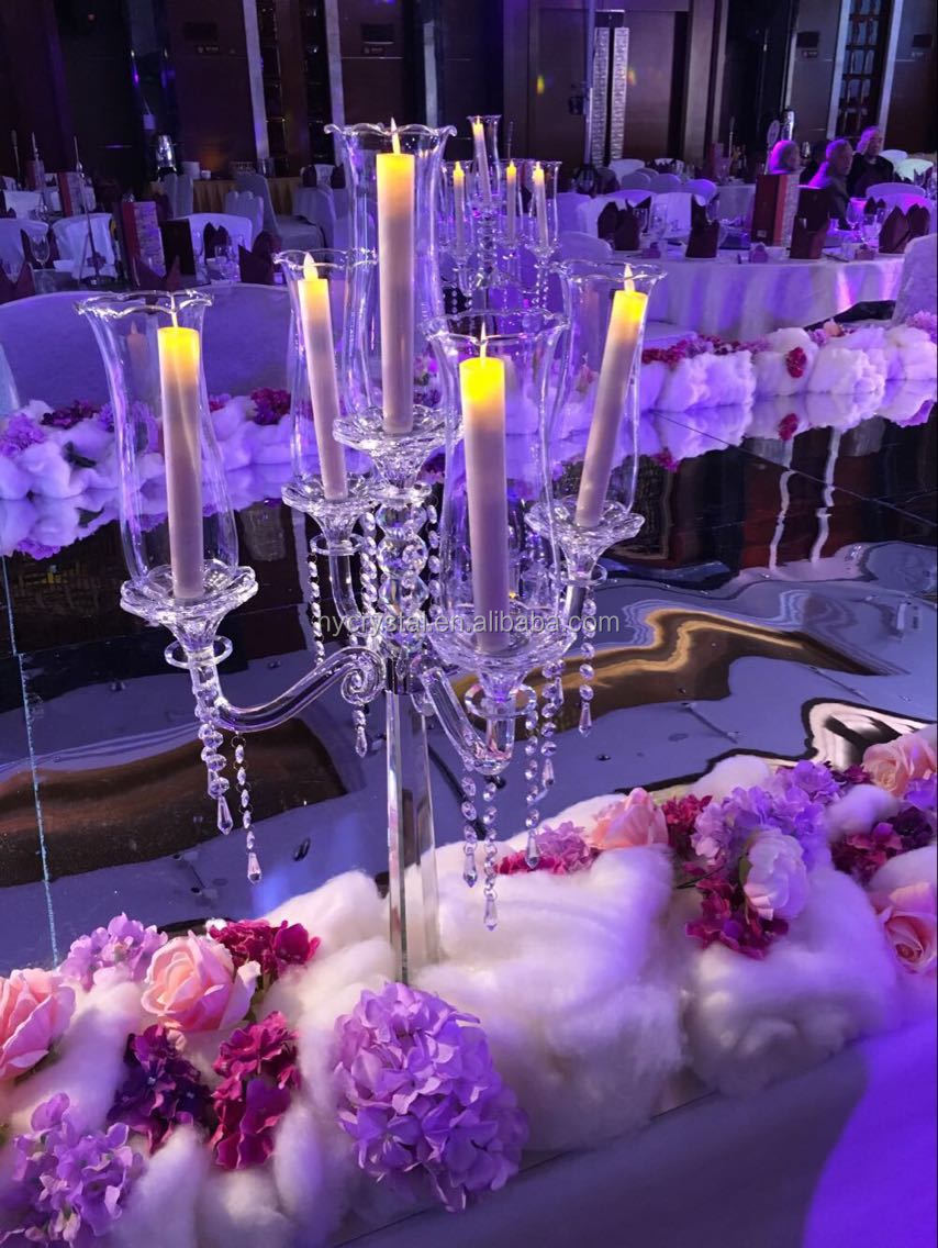 NEW!!! Hot sale 5 arms crystal candelabra for wedding