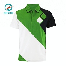 Custom polyester two color green and white men uniform cheap polo shirts