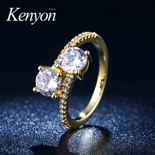 KENYON New arrived luxury lady jewellery 18k white gold ring 1 gram diamond engagement stone gold ring R944