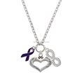 Awareness Ribbon Courage Strength Wisdom Crystal Infinity Necklace
