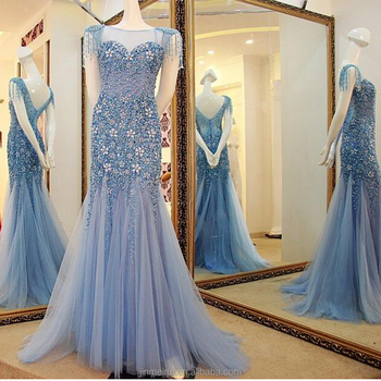 Sparkling Long Evening Dresses 2016 Blue Sexy Illusion Scoop neck Crystals Beaded Sheer Cap Mermaid Evening Dress Formal Gowns