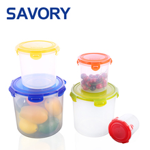 China wholesale clear cylinder round plastic food container with lid